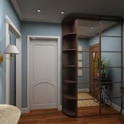 szafa z drzwiami przesuwnymi z lustra, półokrągłe półki