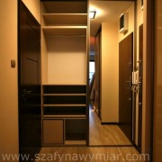 szafa wnękowa w przedpokoju, drzwi z lustra, półki