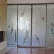 drzwi z piaskowanego szkła, przesuwne