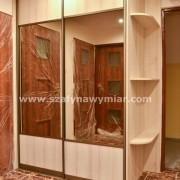 szafa z drzwiami łączonymi płyta + lustro, półki zaokrąglone