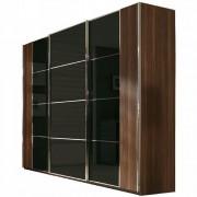 szafa wolnostojąca, drzwi przesuwne, łączone, płyta z czarnym szkłem