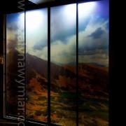 szafa wolnostojąca, drzwi przesuwne, podświetlane z fototapetą