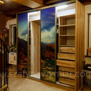 szafa, podświetlane drzwi przesuwne, szuflady, półki, drążki
