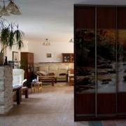 szafa w salonie, drzwi przesuwne, łączona płyta z fototapetą