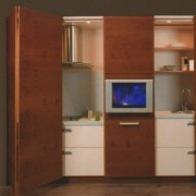 drzwi składano-przesuwne z płyty, szuflady